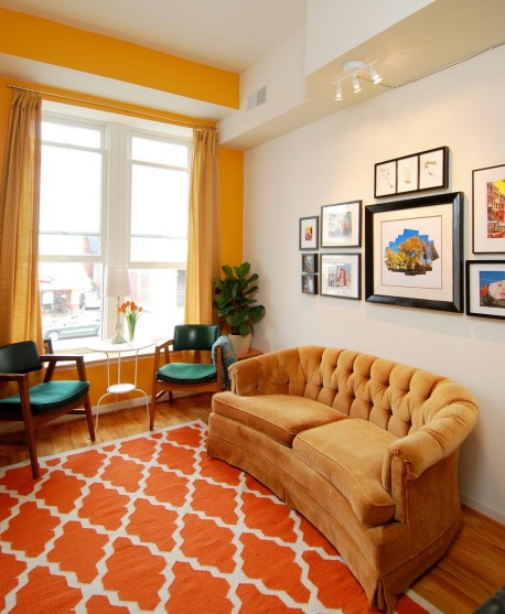 yellow and orange living room