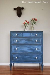 blue antique chest