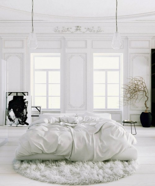 Parisian-Apartment-soft-white-bedroom-with-black-accents-and-potted-tree2