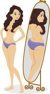 Illustration of a Thin Female Standing in Front of a Mirror and