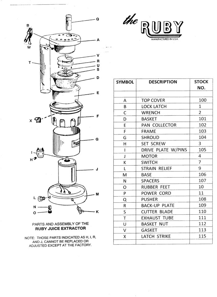Ruby 2000 Juicers or replacement parts available here!