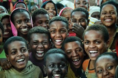 laughing kid crowd