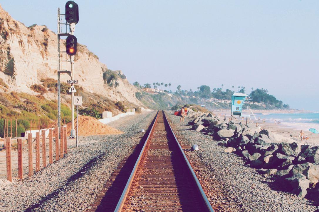 train by beach