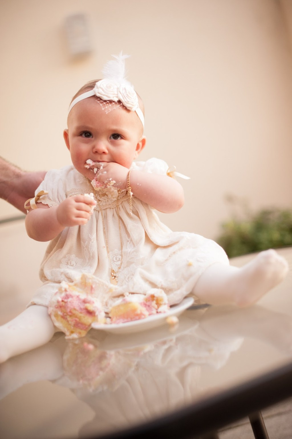 Avas Pink and White Damask Christening  a party studio