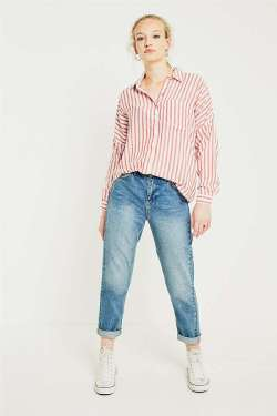 urban outfitters Urban Outfitters Striped Twill Half-Button Shirt