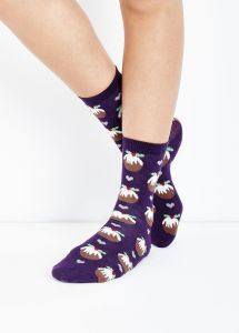1 Pack Dark Purple Christmas Pudding Socks new look