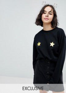 Monki Christmas Star Sweatshirt Jumper asos
