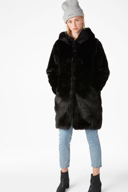 monki Hooded fur coat