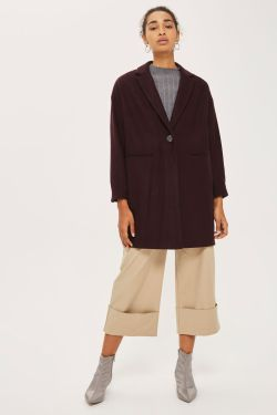 topshop PETITE Relaxed Fit Crombie Coat