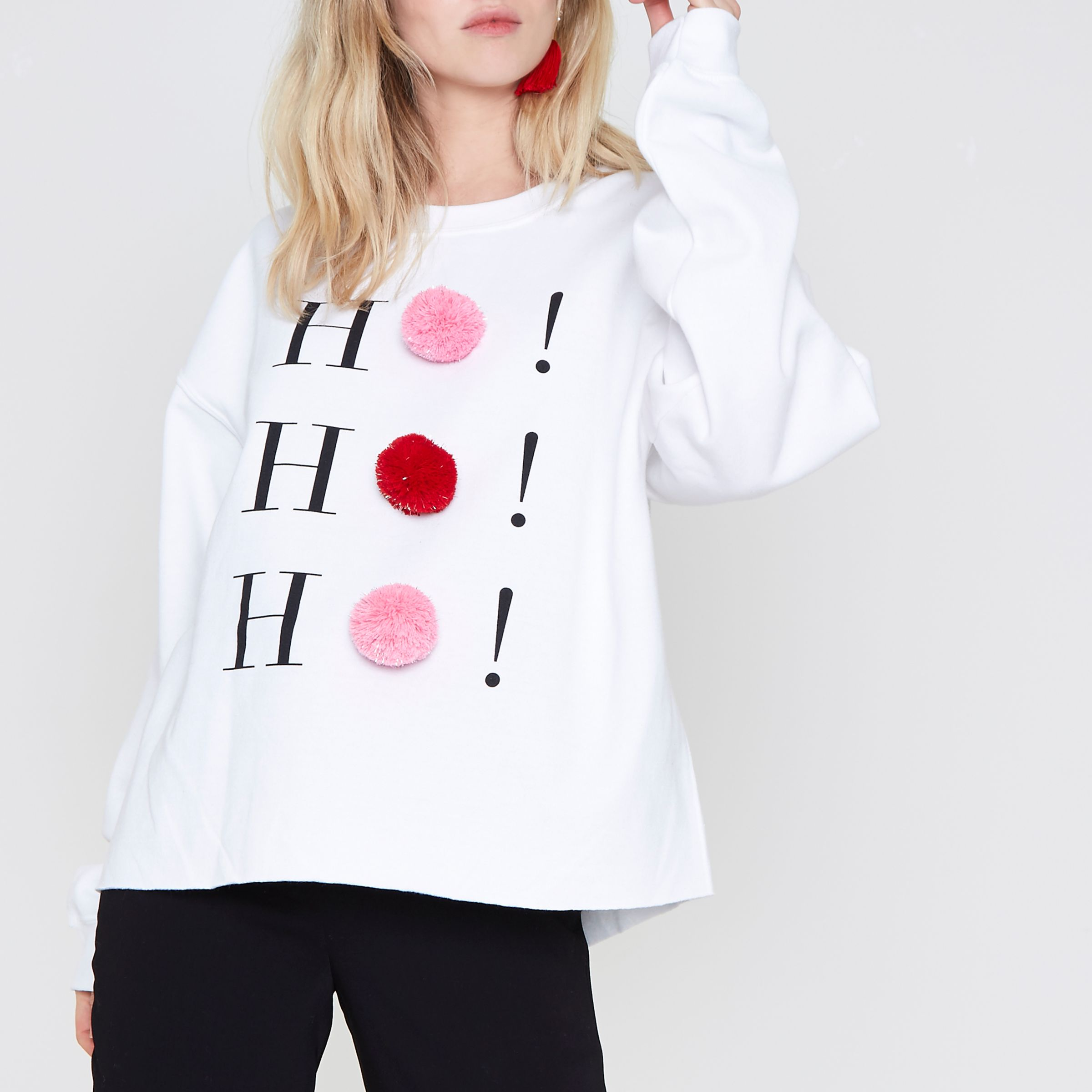 RIVERISLAND White ho ho hO pom pom Christmas sweatshirt