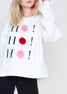 RIVERISLAND White ho ho hO pom pom Christmas sweatshirt