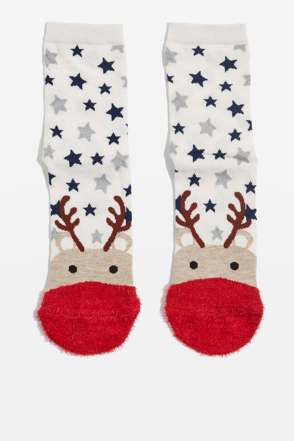 topshop Christmas Reindeer Fluffy Toe Socks