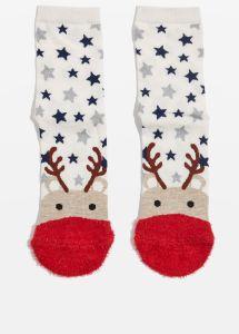 topshop Christmas Reindeer Fluffy Toe Socks