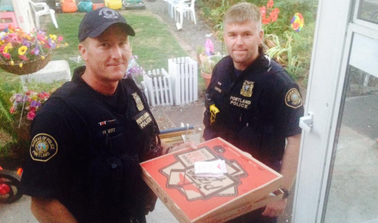 Portland Police        ✔ @PortlandPolice Follow Pizza delivery delayed by a crash so Officers Filbert & Curtiss helped get food to the customer. #YourCityYourPolice