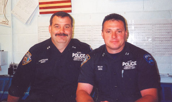 Rich Miller (right) and Richie Hartigan one year after the attacks of September 11. Miller and Hartigan raised the first flag at Ground Zero for their fallen comrades. Two days later there were hundreds of American flags flying at the place where the World Trade Center buildings stood. That proud symbol gave hope to Americans everywhere that we were strong and we would survive.