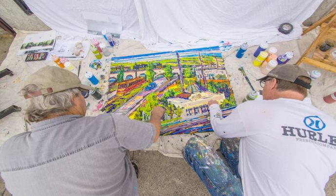 ron and ron (AKA Ron Squared) doing a live painting outside APC Fine Arts Gallery in Downtown Torrance