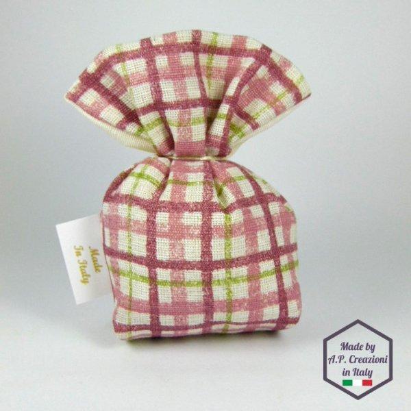 Sacchetto Imbuto Quadrettato Rosa Antico/Beidge CKD02OLD