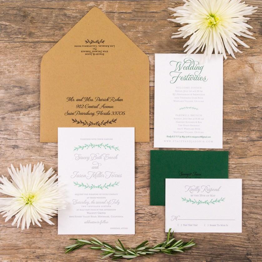 Watercolor And Letterpress Greenery Wedding Invitations