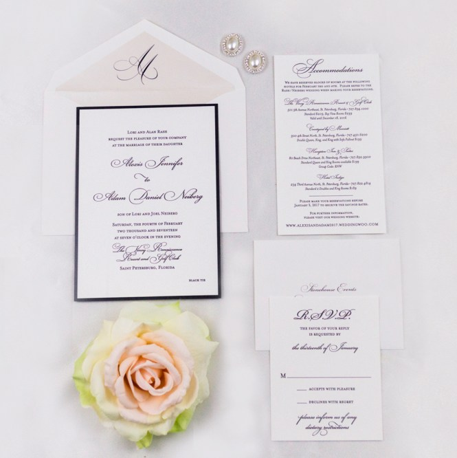 Black White Traditional Wedding Invitations A P Designs