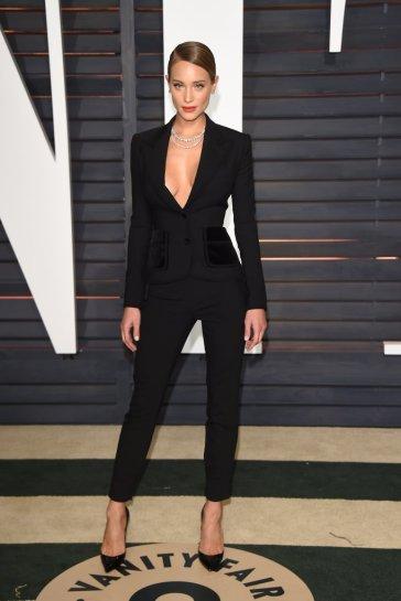 black suit, sexy black suit, Hannah Davis,