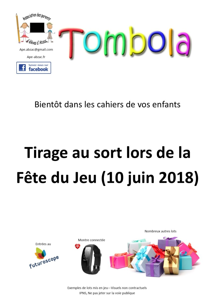 Tombola 2018 – Gagnants