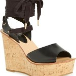 topshop black lace up wedges