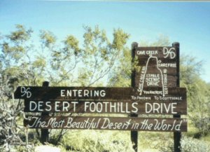 This drive entry sign, installed in 1964, was located just north of the power line corridor on Scottsdale Road, south of Jomax.
