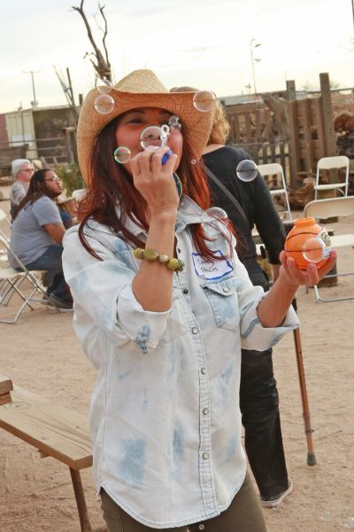 This woman made the bubbles fly at the Scottsdale Western Cookout Adventure. (Courtesy of Dennis Liddell.)