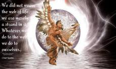 All things are connected, like the blood that unites us. We did not weave the web of life, we are merely a strand in it. Whatever we do to the web, we do to ourselves.. ~Chief Seattle