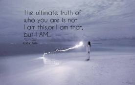 The ultimate truth of who you are is not I am this, or I am that, but I AM.. ~Eckhart Tolle