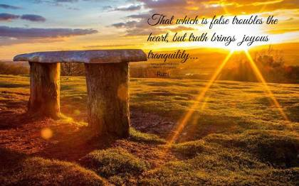 That which is false troubles the heart, but truth brings joyous tranquility. ~Rumi