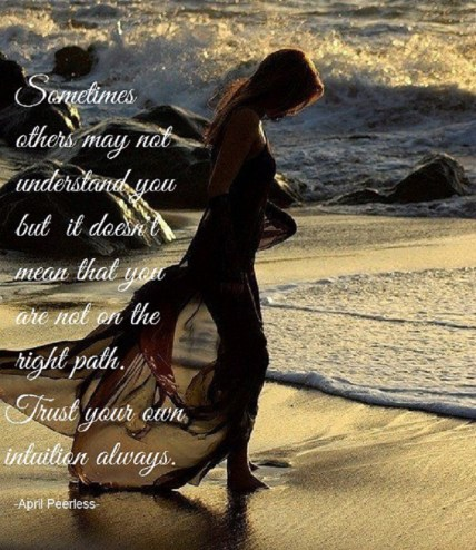 Sometimes others may not understand you but it doesn't mean that you are not on the right path. Trust your own intuition, always. A.Peerless
