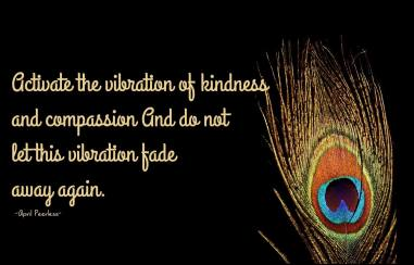 Activate the vibration of kindness and compassion And do not let the vibration fade away again. ~April Peerless
