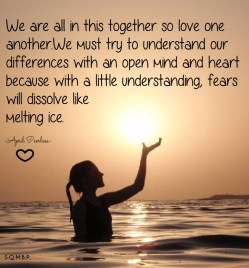 We are all in this together so love one another. We must try to understand our differences with an open mind and heart because with a little understanding, fears will dissolve like melting ice. April Peerless