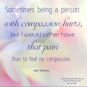 Sometimes being a person with compassion hurts, but I would rather have that pain than to feel no compassion. April Peerless ..