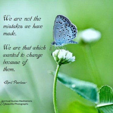 We are not the mistakes we have made. We are that which wanted to change because of them. April Peerless