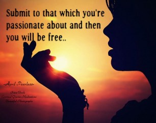 Submit to that which you're passionate about and then you will be free.. April Peerless