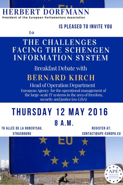 Thursday 12 May 2016 – Breakfast debate with Bernard Kirch, Head of the Operation Department of eu-LISA