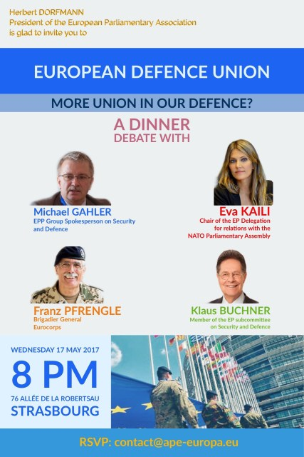 "Wednesday 14 December 2016 – Dinner debate: ""European Defence Union: More Union in Our Defence?"""