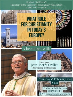 Thursday 16 February 2017 - Breakfast with Monsignor Jean-Pierre Grallet, Archbishop of Strasbourg