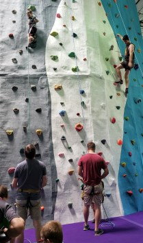 people top rope climbing in a climbing gym