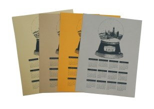 '2015 Cleveland Snow Globe Calendar' in Grey on Multiple Paper Prints