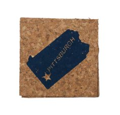 'Pittsburgh Star State' in Blue on Cork Coaster