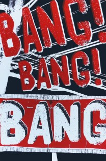 'Bang, Bang, Bang!', 12.5''x19'', Screenprint on Blacktop Paper.