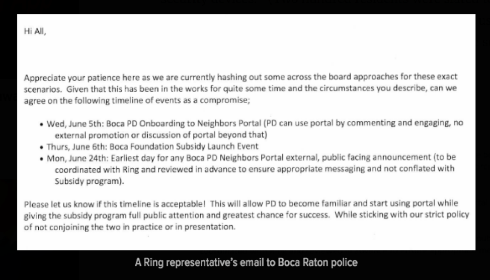Ring Representatives Email to Boca Raton Police Department