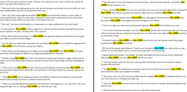 1Sam 12 the Lord highlighted