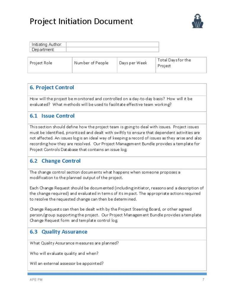 Project Initiation Document Template - APE Project Management