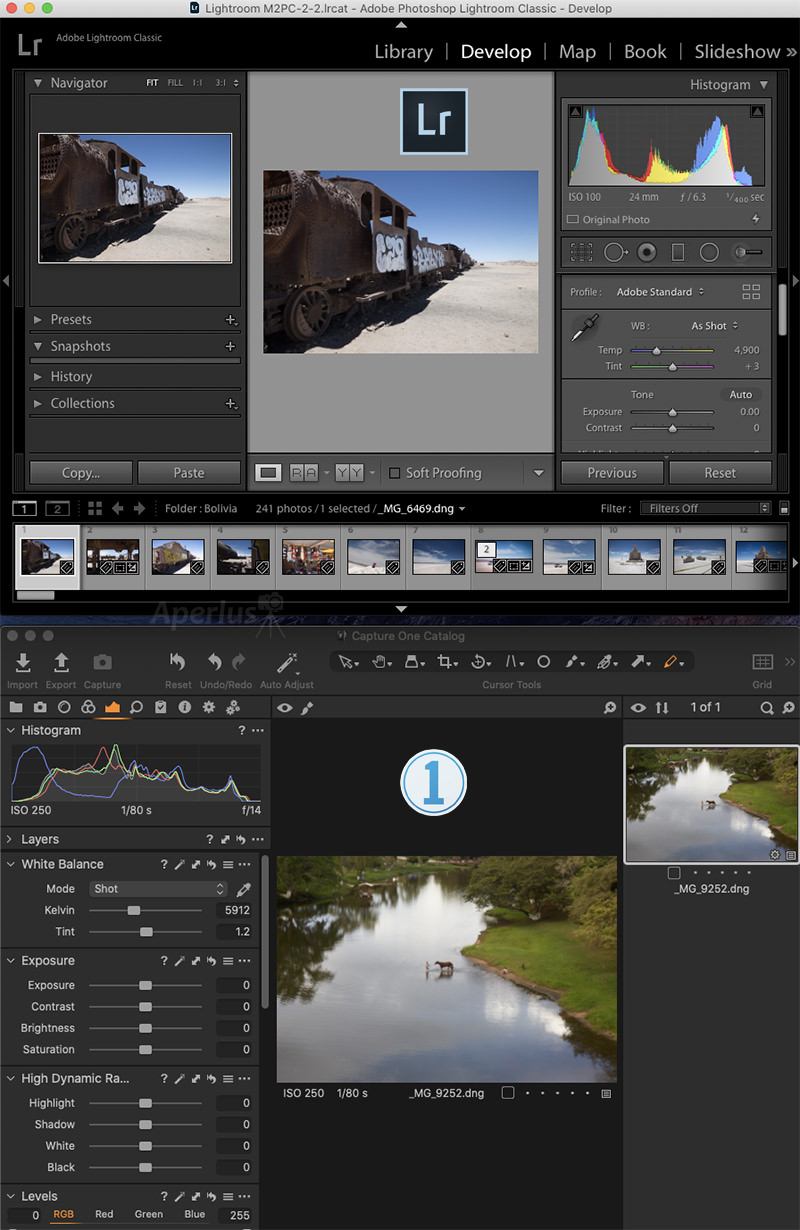 lightroom and capture one interface screenshot