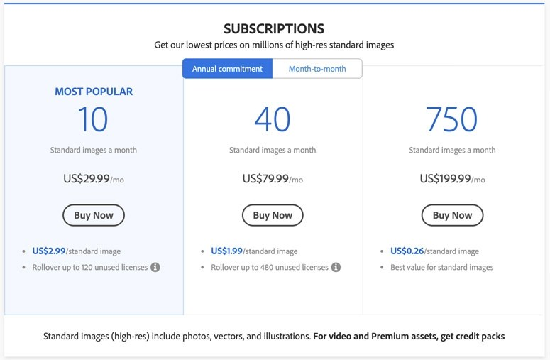 adobe stock subscription pricing