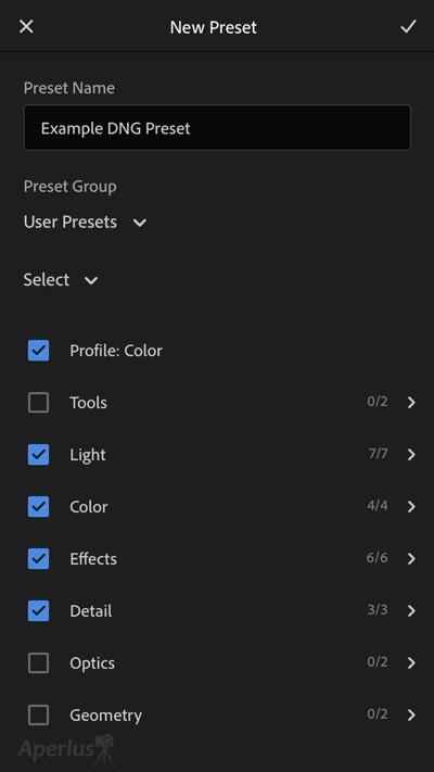 iphone save dng preset lightroom app
